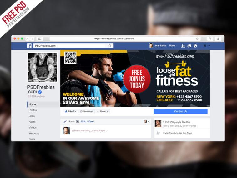 Szablon okładki Fanpage Fitness na Facebooku PSD