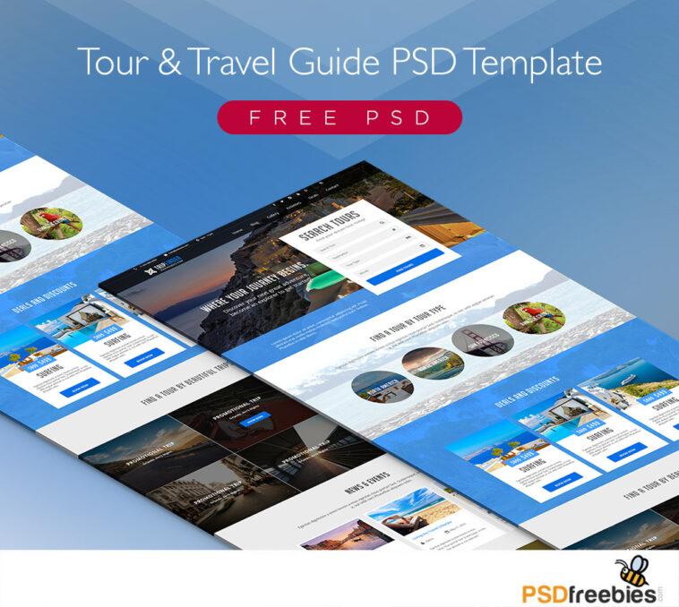 Bezpłatny szablon PSD przewodnika po wycieczkach i podróżach
